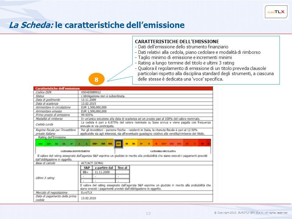 La Scheda: le caratteristiche dell'emissione
