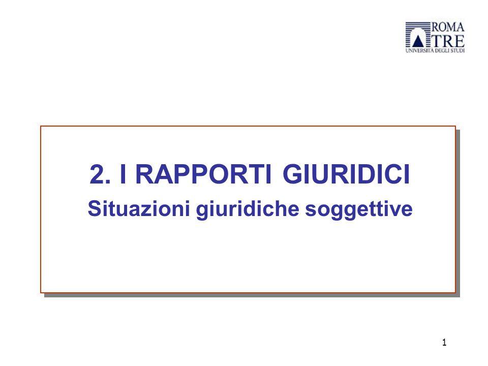 2. I RAPPORTI GIURIDICI Situazioni giuridiche soggettive