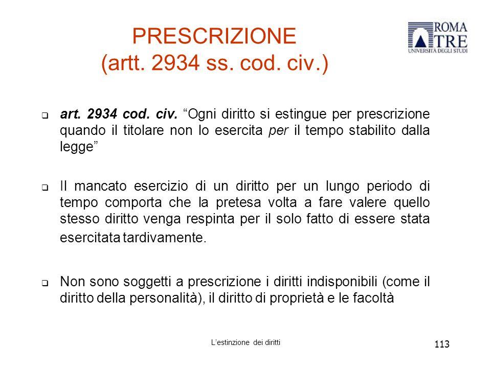 PRESCRIZIONE (artt. 2934 ss. cod. civ.)