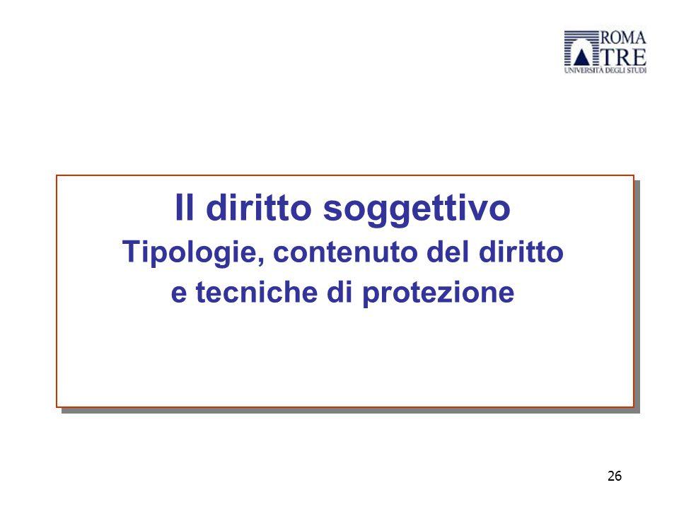 Tipologie, contenuto del diritto e tecniche di protezione