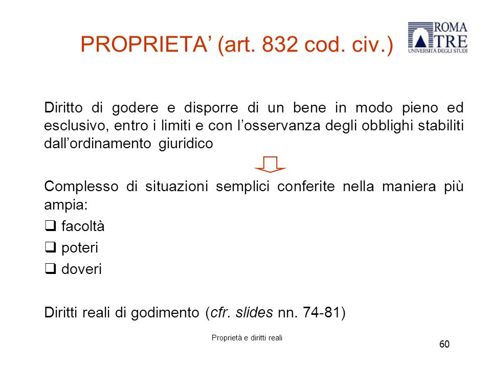 PROPRIETA' (art. 832 cod. civ.)