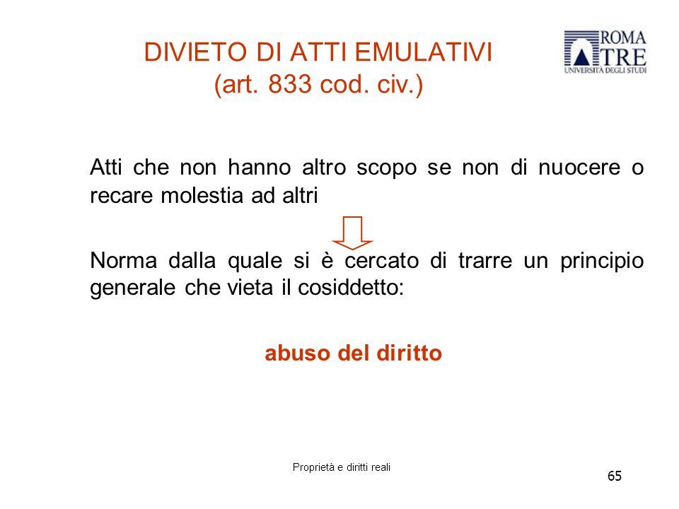 DIVIETO DI ATTI EMULATIVI (art. 833 cod. civ.)