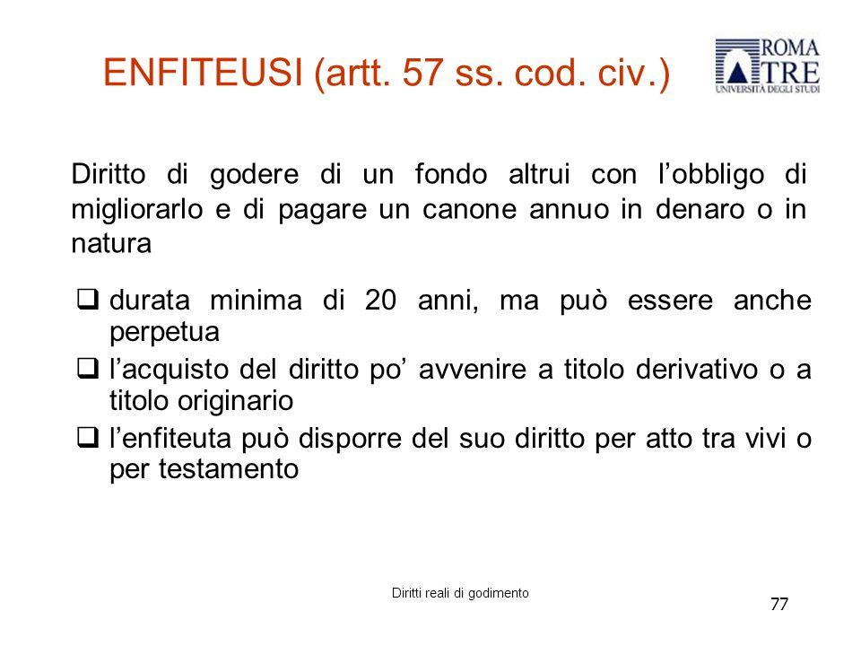 ENFITEUSI (artt. 57 ss. cod. civ.)