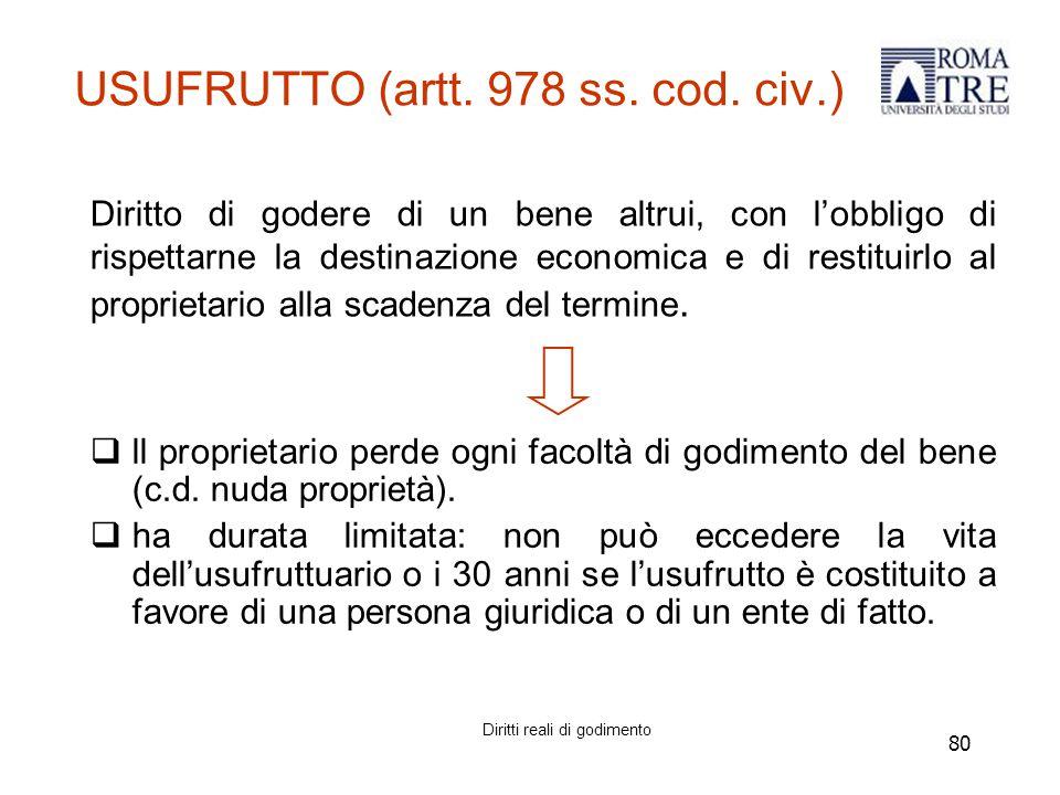 USUFRUTTO (artt. 978 ss. cod. civ.)
