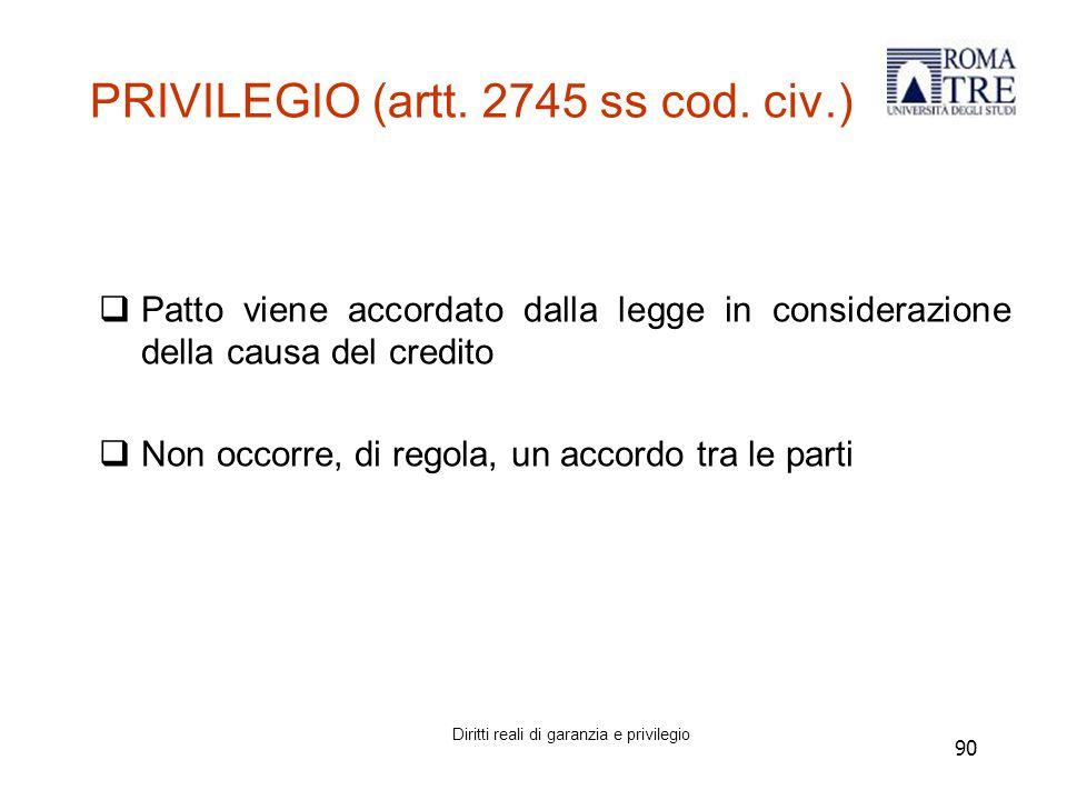 PRIVILEGIO (artt. 2745 ss cod. civ.)