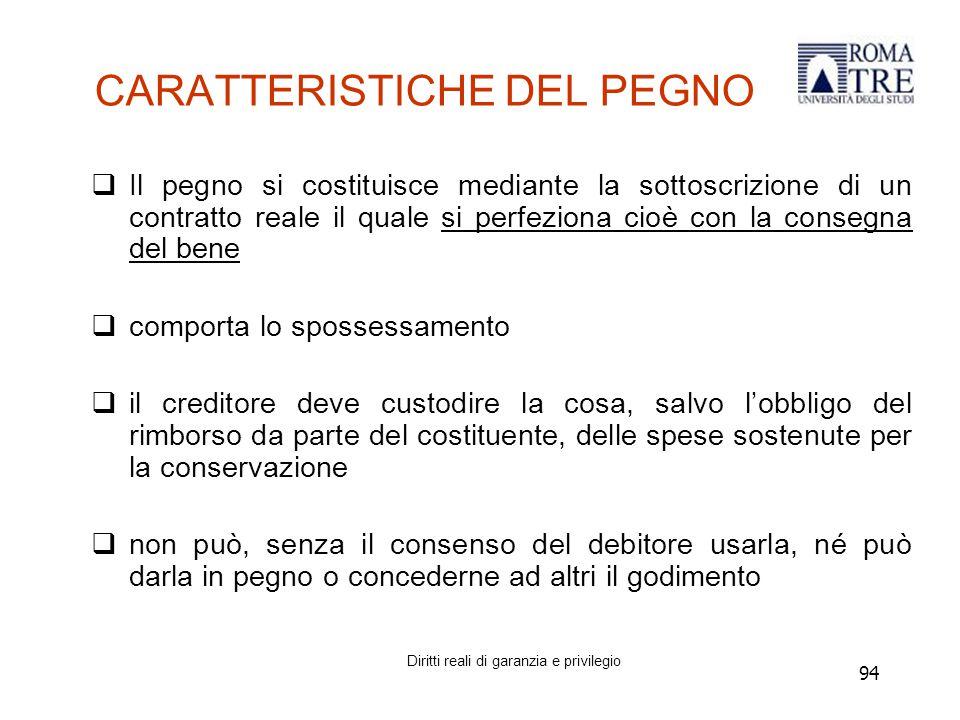 CARATTERISTICHE DEL PEGNO
