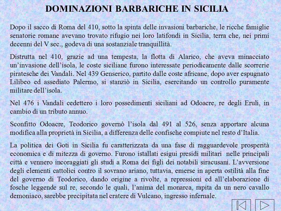 DOMINAZIONI BARBARICHE IN SICILIA
