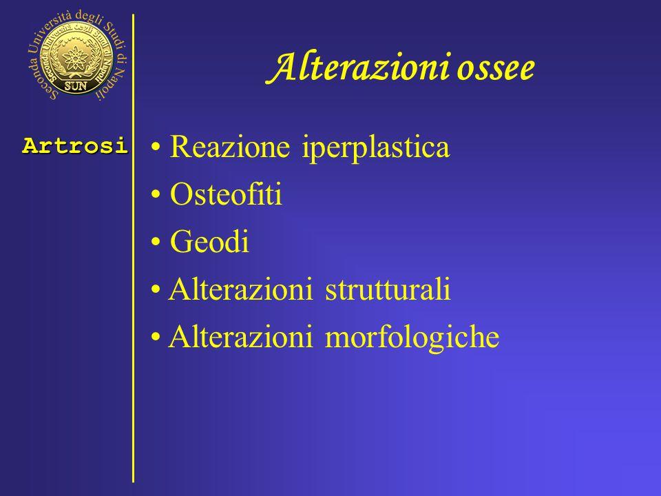 Alterazioni ossee Reazione iperplastica Osteofiti Geodi