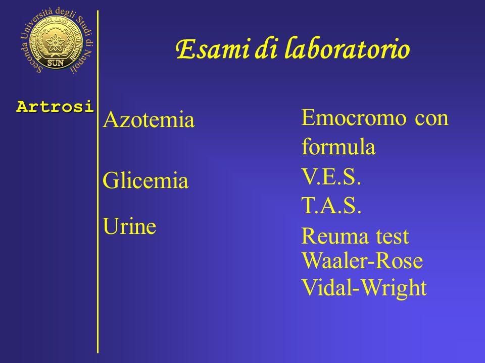 Esami di laboratorio Emocromo con formula Azotemia V.E.S. Glicemia