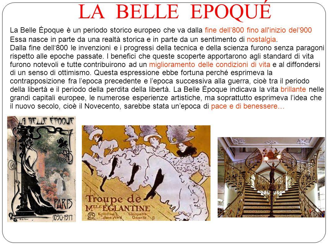 LA BELLE EPOQUÉ La Belle Époque è un periodo storico europeo che va dalla fine dell'800 fino all inizio del'900.