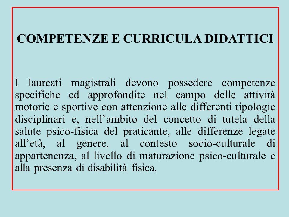 COMPETENZE E CURRICULA DIDATTICI