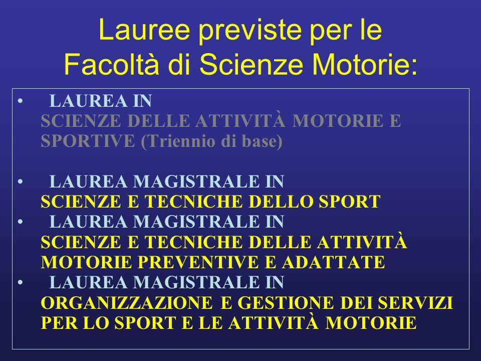 Lauree previste per le Facoltà di Scienze Motorie: