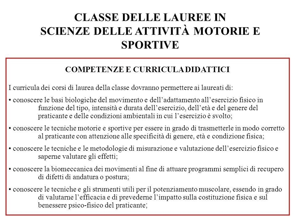 CLASSE DELLE LAUREE IN SCIENZE DELLE ATTIVITÀ MOTORIE E SPORTIVE