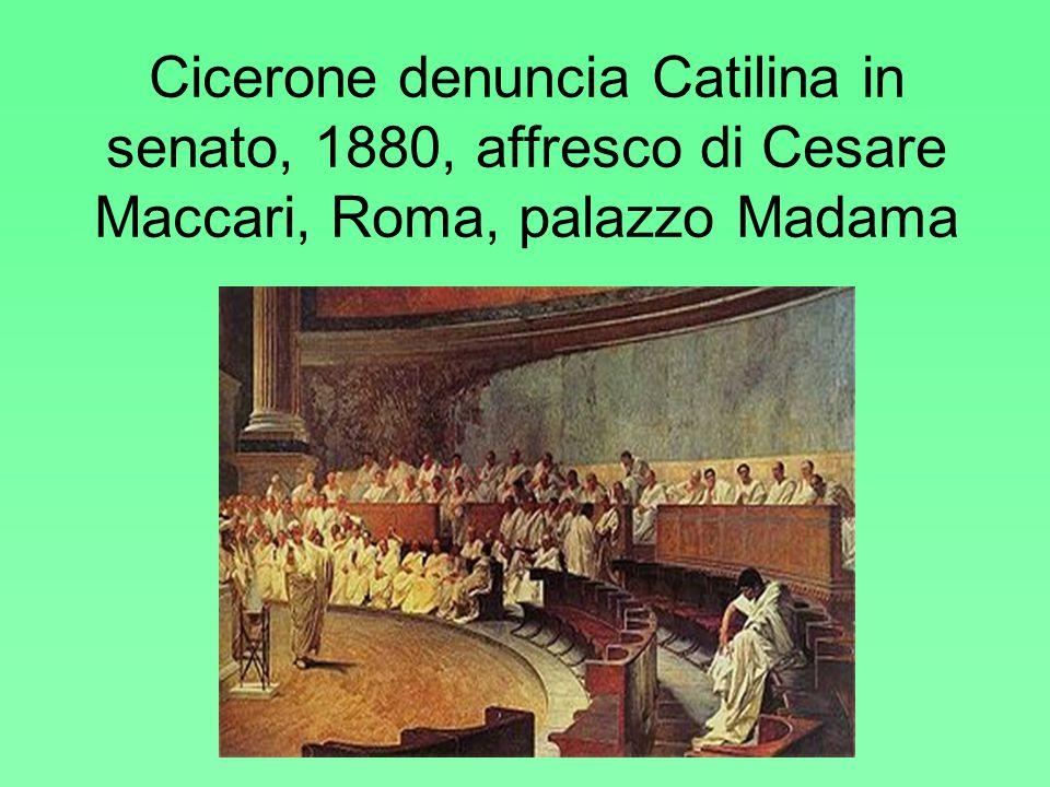 Cicerone denuncia Catilina in senato, 1880, affresco di Cesare Maccari, Roma, palazzo Madama