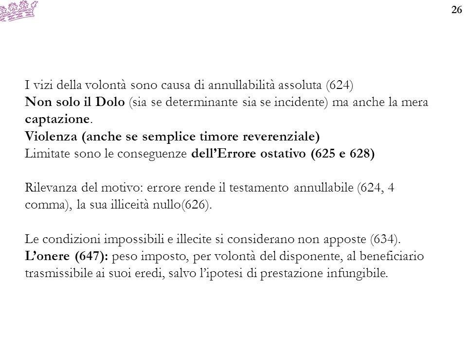 I vizi della volontà sono causa di annullabilità assoluta (624)