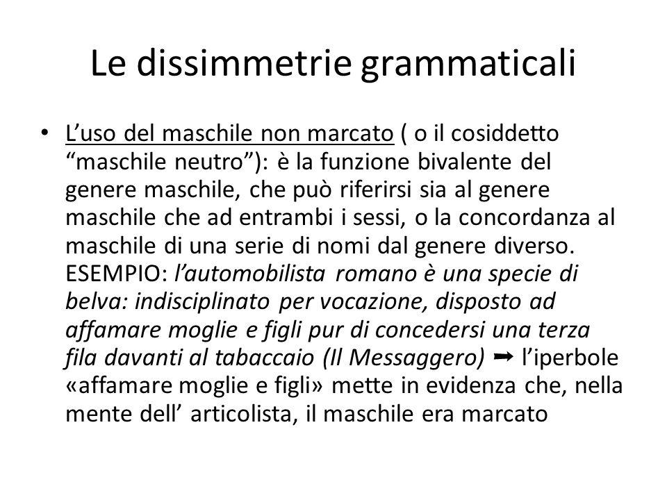 Le dissimmetrie grammaticali