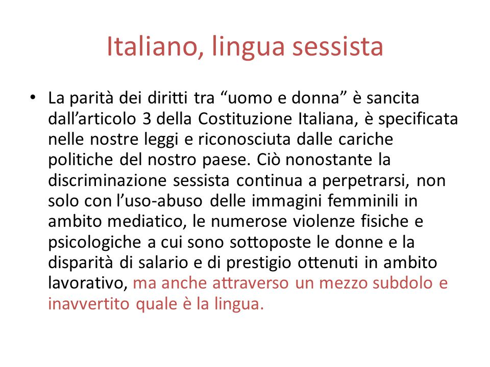 Italiano, lingua sessista