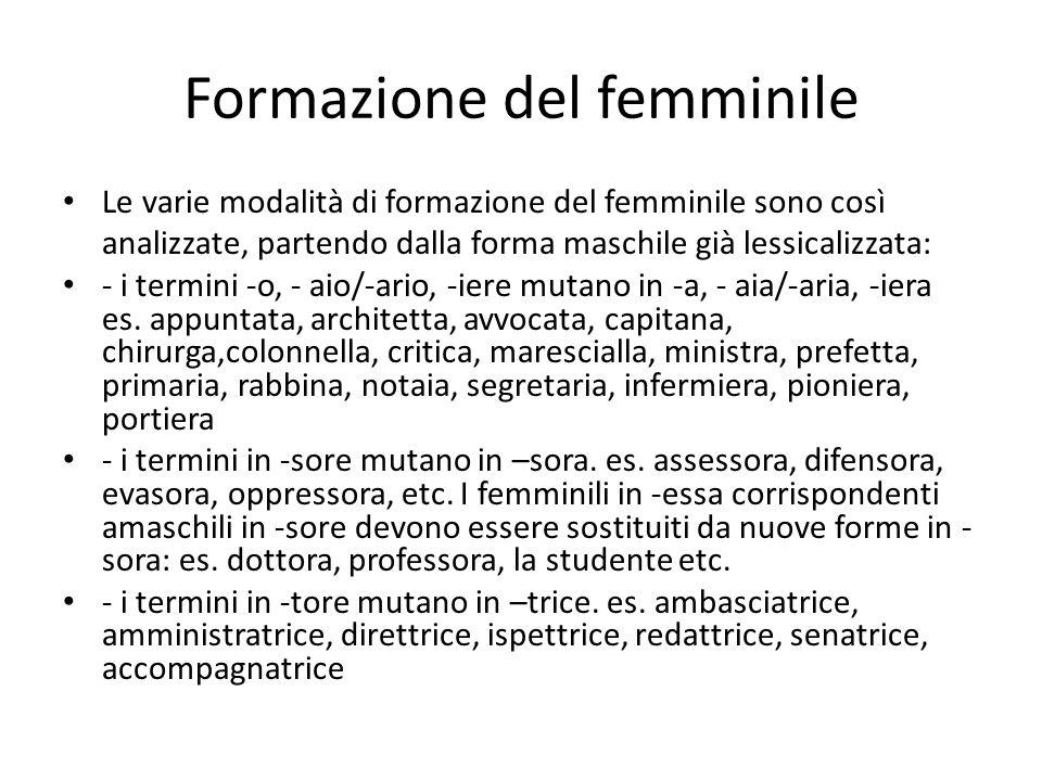 Formazione del femminile