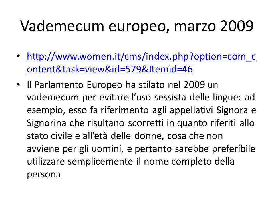 Vademecum europeo, marzo 2009