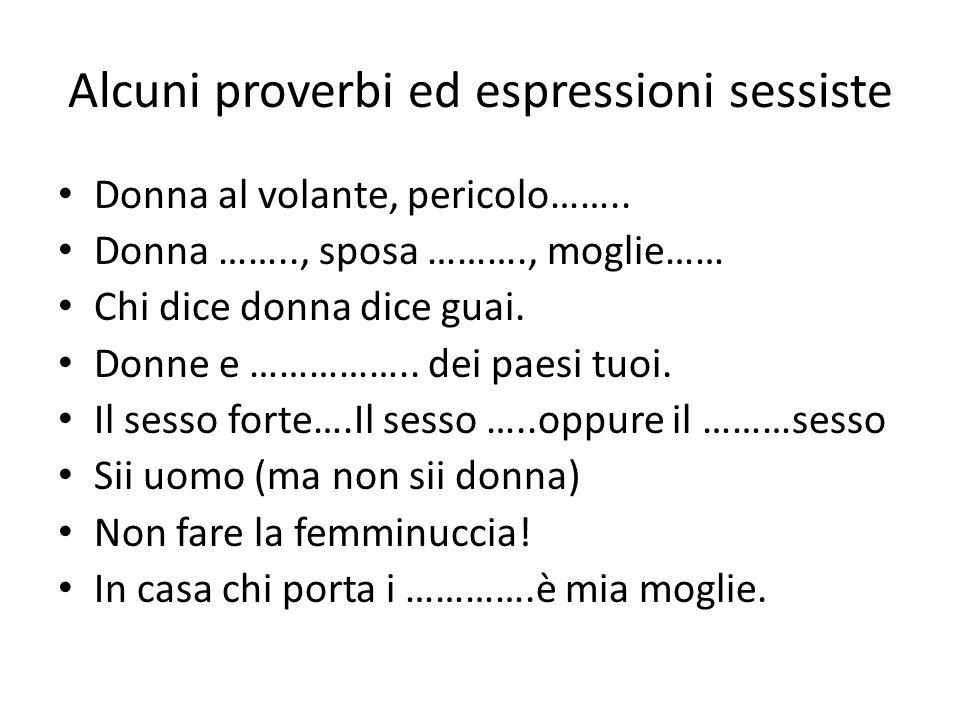 Alcuni proverbi ed espressioni sessiste