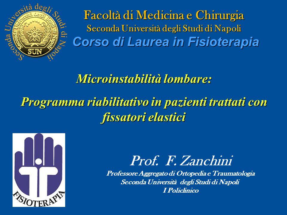 Facoltà di Medicina e Chirurgia Seconda Università degli Studi di Napoli Corso di Laurea in Fisioterapia