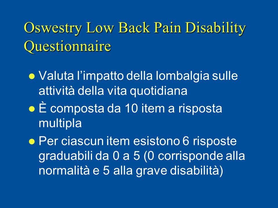 Oswestry Low Back Pain Disability Questionnaire