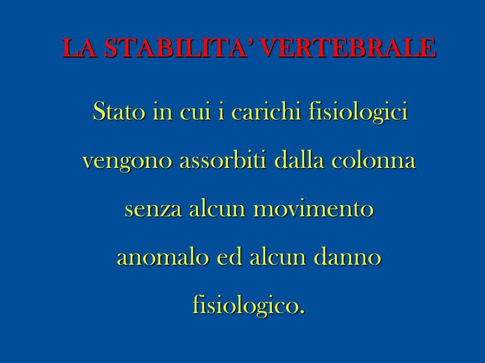 LA STABILITA' VERTEBRALE