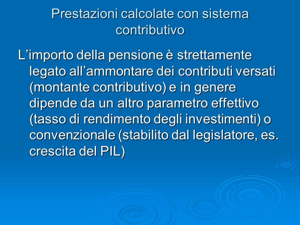 Prestazioni calcolate con sistema contributivo