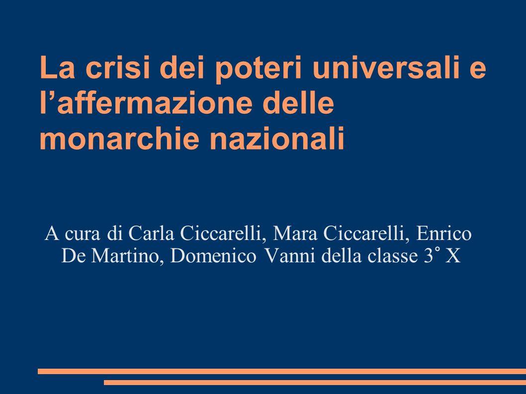 La crisi dei poteri universali e l'affermazione delle monarchie nazionali