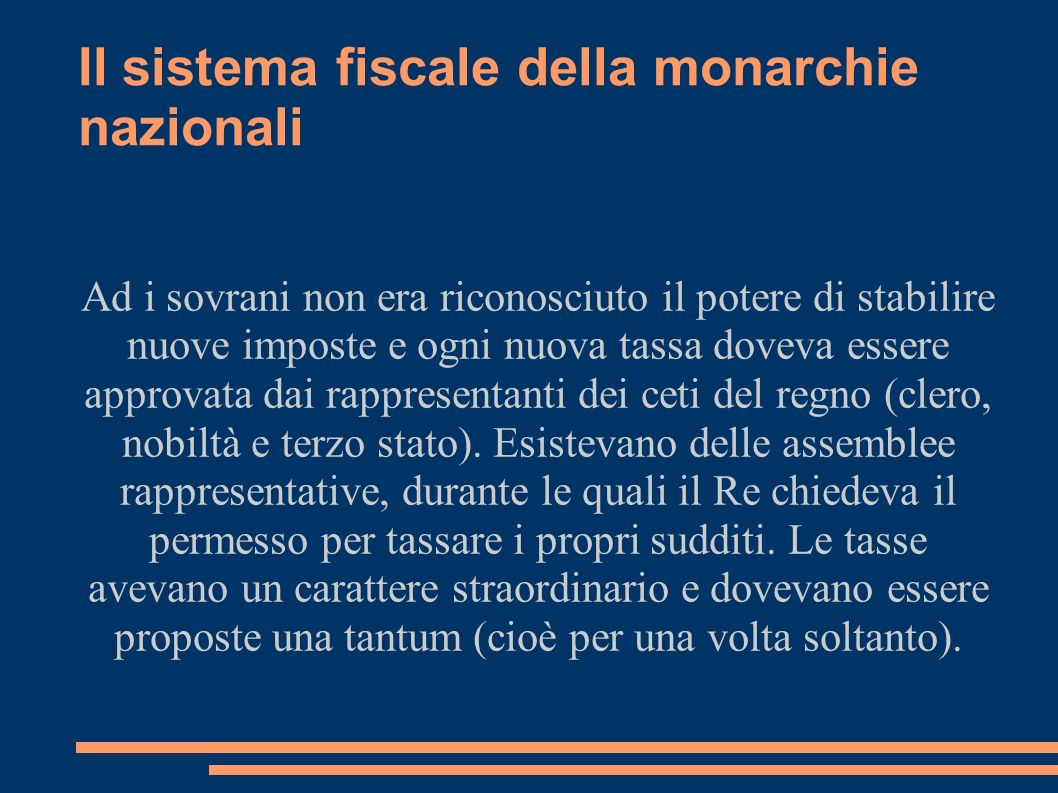 Il sistema fiscale della monarchie nazionali