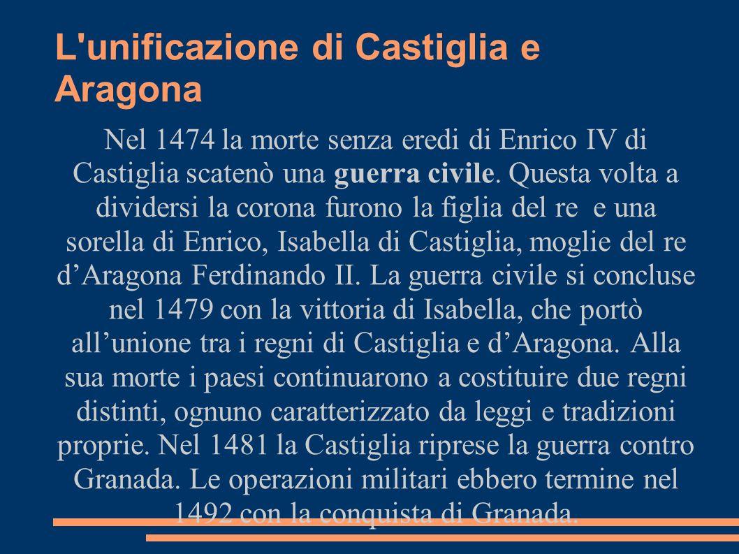 L unificazione di Castiglia e Aragona