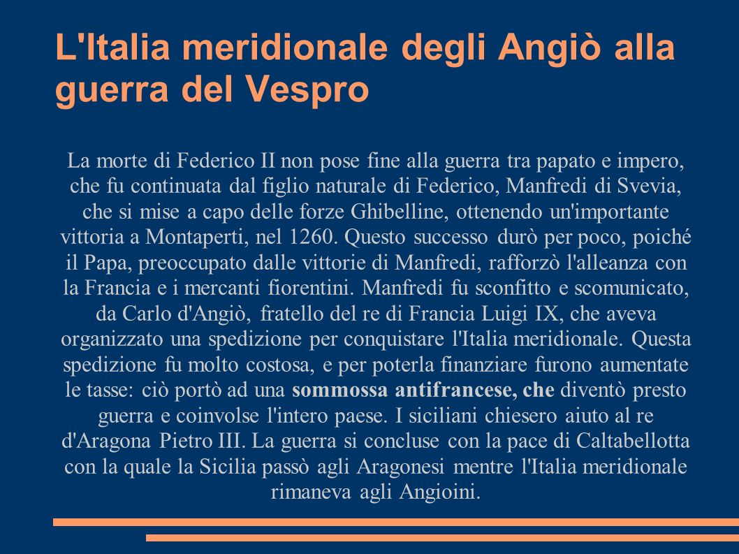 L Italia meridionale degli Angiò alla guerra del Vespro