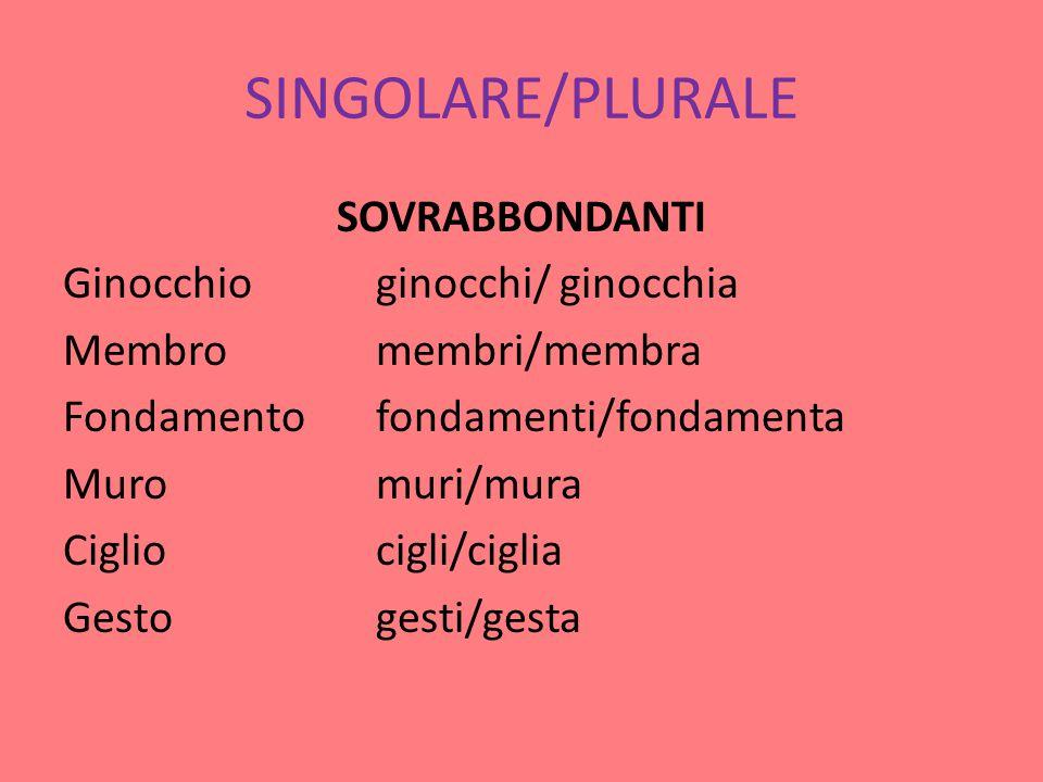 SINGOLARE/PLURALE