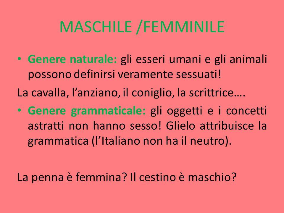 MASCHILE /FEMMINILE Genere naturale: gli esseri umani e gli animali possono definirsi veramente sessuati!