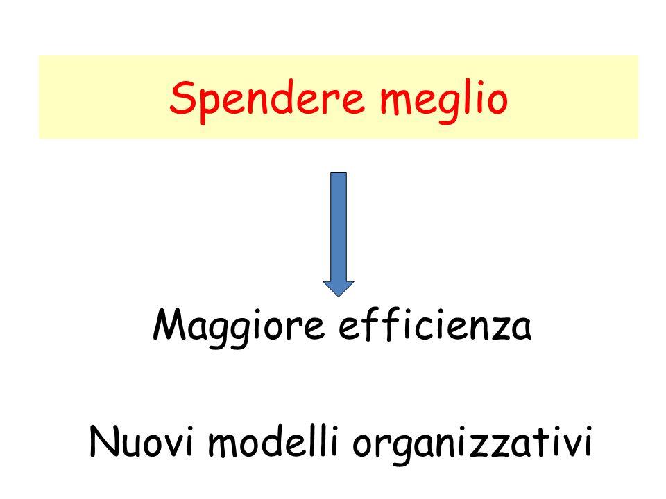 Maggiore efficienza Nuovi modelli organizzativi