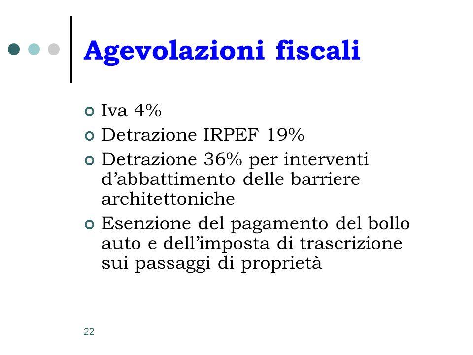 Agevolazioni fiscali Iva 4% Detrazione IRPEF 19%