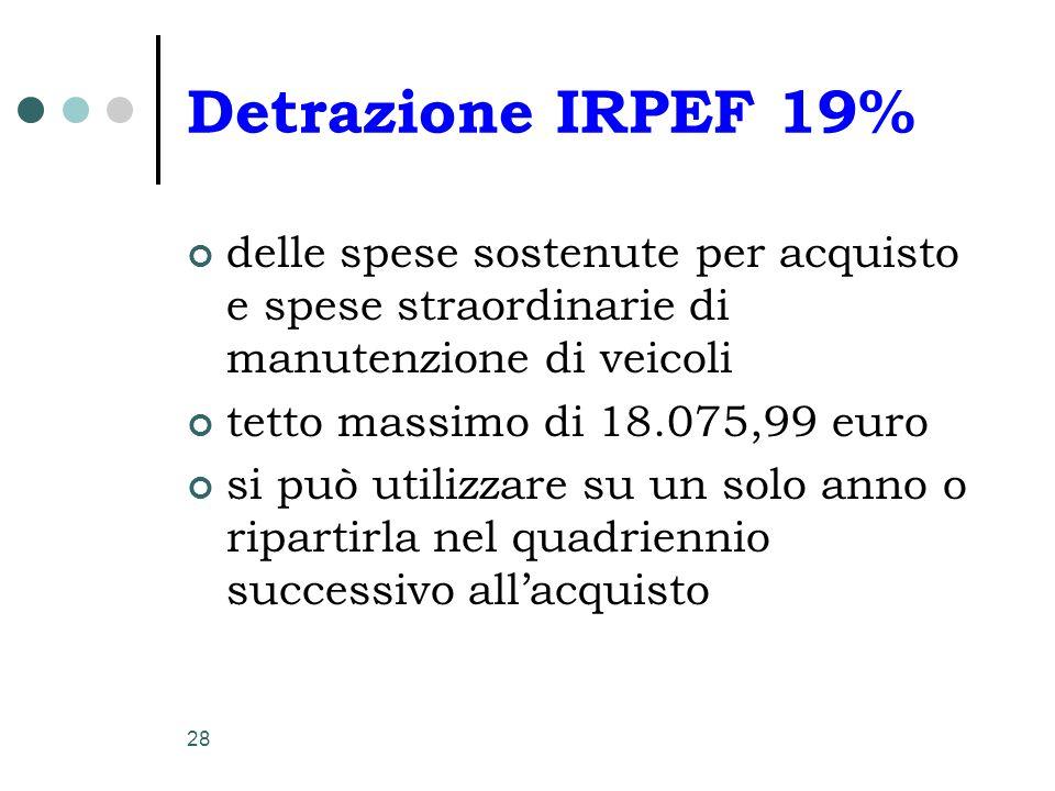 Detrazione IRPEF 19% delle spese sostenute per acquisto e spese straordinarie di manutenzione di veicoli.