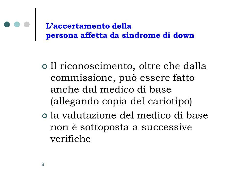 L'accertamento della persona affetta da sindrome di down