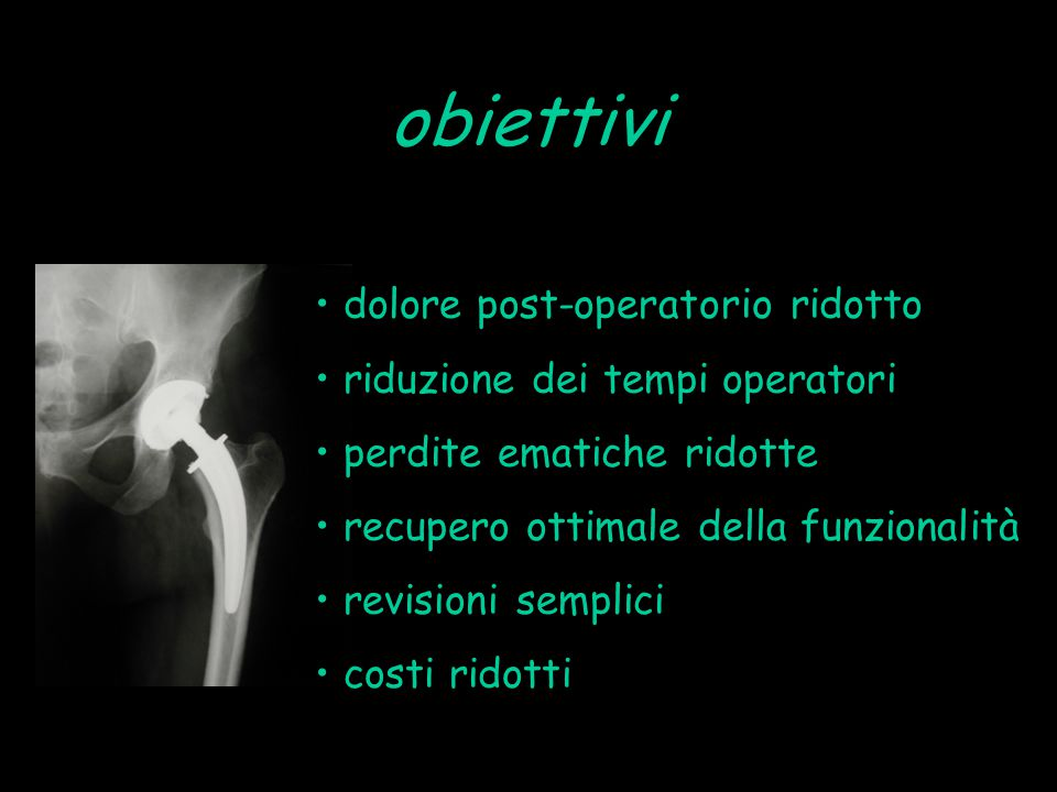 obiettivi dolore post-operatorio ridotto riduzione dei tempi operatori