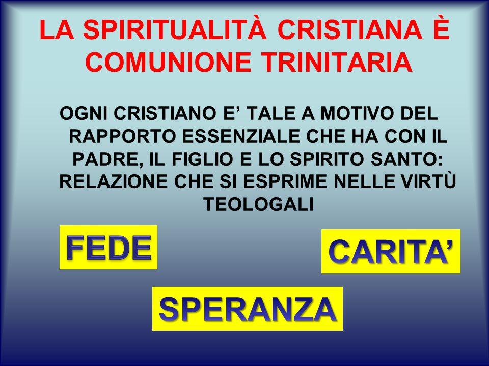 LA SPIRITUALITÀ CRISTIANA È COMUNIONE TRINITARIA