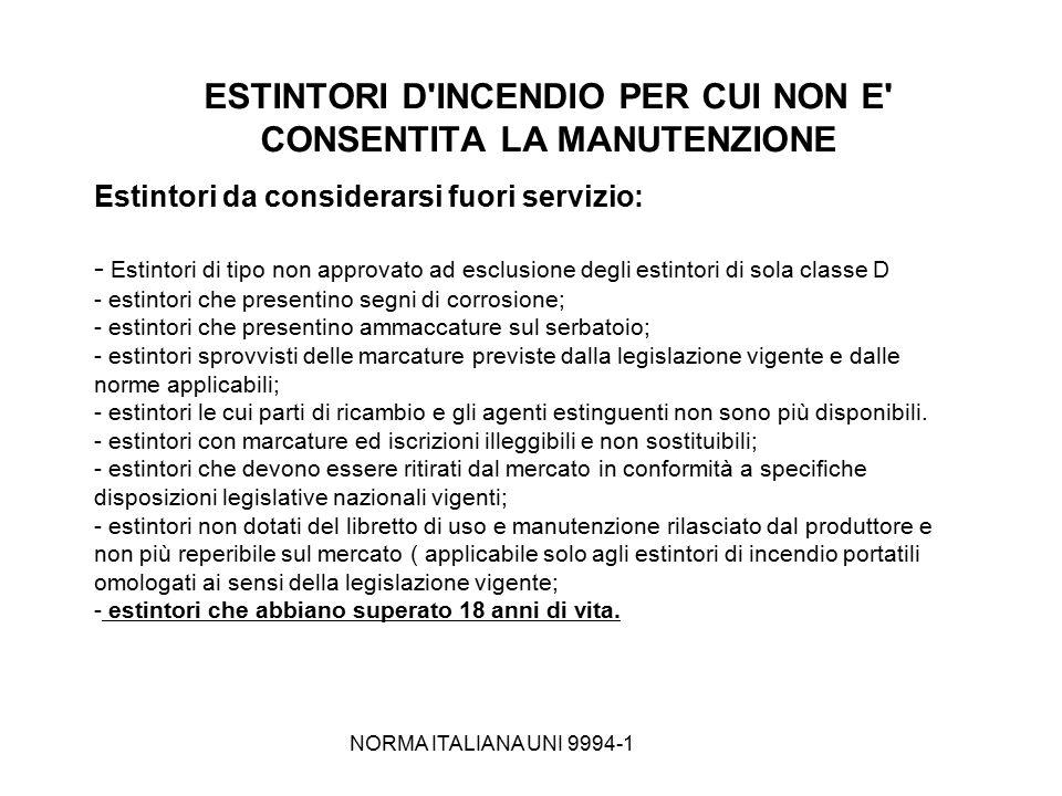 ESTINTORI D INCENDIO PER CUI NON E CONSENTITA LA MANUTENZIONE