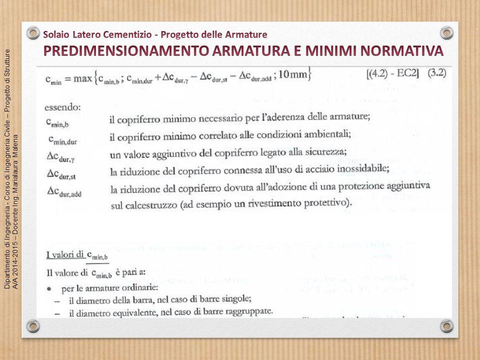 PREDIMENSIONAMENTO ARMATURA E MINIMI NORMATIVA