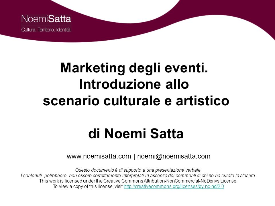 Marketing degli eventi. scenario culturale e artistico