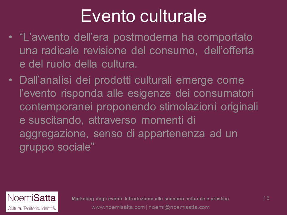 Evento culturale L'avvento dell'era postmoderna ha comportato una radicale revisione del consumo, dell'offerta e del ruolo della cultura.