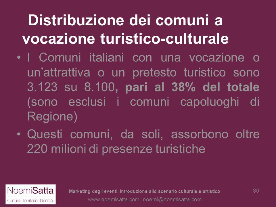 Distribuzione dei comuni a vocazione turistico-culturale