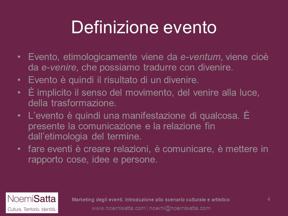 Definizione evento Evento, etimologicamente viene da e-ventum, viene cioè da e-venire, che possiamo tradurre con divenire.