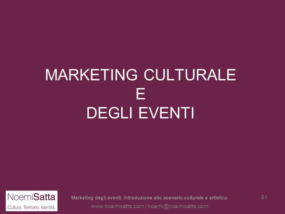 MARKETING CULTURALE E DEGLI EVENTI
