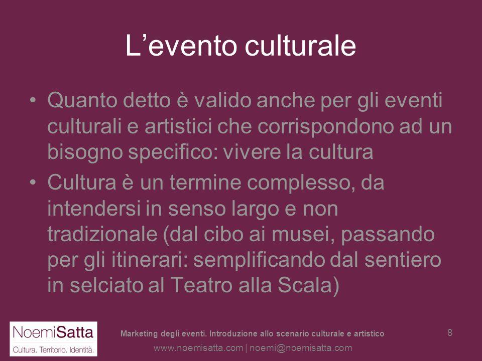 L'evento culturale Quanto detto è valido anche per gli eventi culturali e artistici che corrispondono ad un bisogno specifico: vivere la cultura.