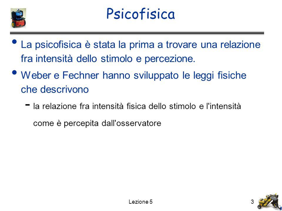 Psicofisica La psicofisica è stata la prima a trovare una relazione fra intensità dello stimolo e percezione.