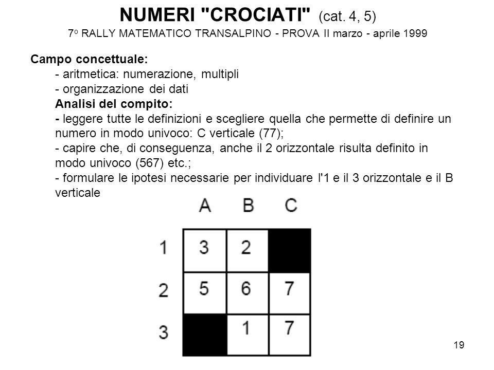 NUMERI CROCIATI (cat. 4, 5) 7o RALLY MATEMATICO TRANSALPINO - PROVA II marzo - aprile 1999